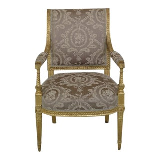 French Louis XIV Style Gold Open Arm Damask Upholstered Chair For Sale