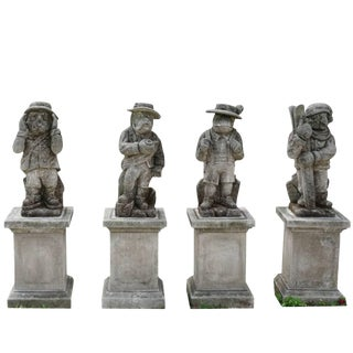 """20th Century """"The Mountain People"""" Limestone Statuettes - Set of 4 For Sale"""