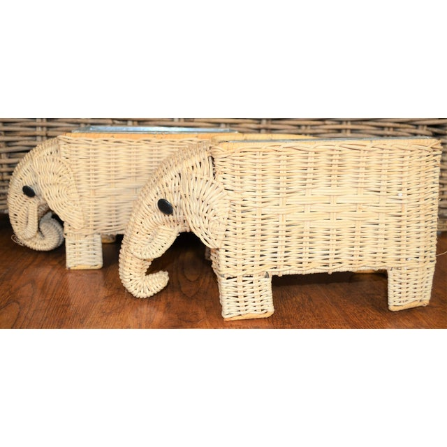 Boho Chic Wicker Elephant Basket Planters - a Pair For Sale - Image 10 of 12
