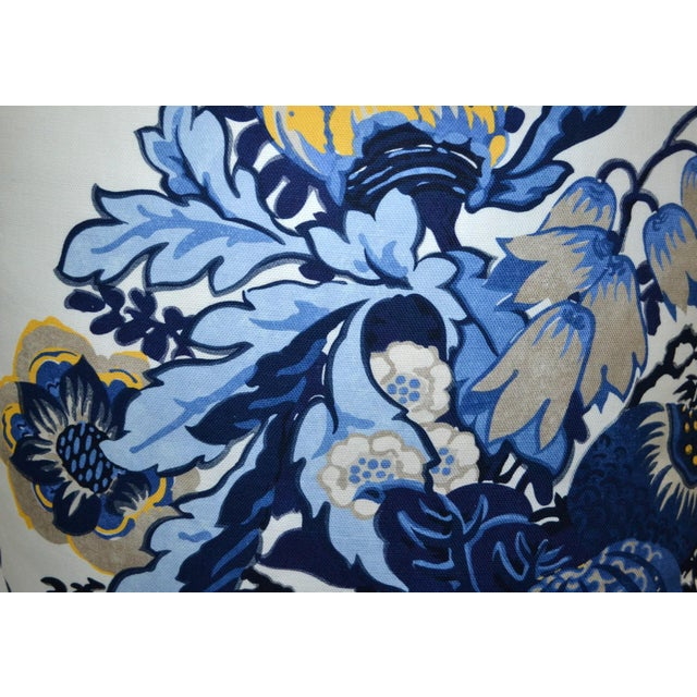 """Set of Anna French Fairbanks Fabric, Blue and Yellow Floral, 22""""x22"""" Fully serged with hidden zippers, and down inserts."""