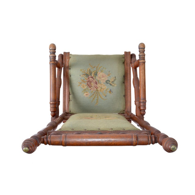 17th Century Antique Rocking Chair Hand Carved & Turned Walnut Wood Needlepoint Upholstery For Sale - Image 5 of 13