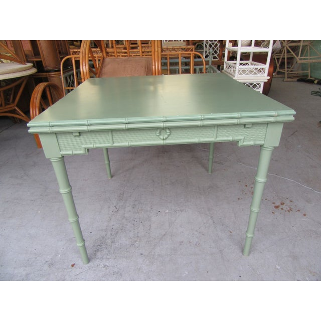 Green Omega Extendable Faux Bamboo Dining Table For Sale - Image 8 of 8