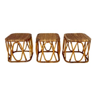 Vintage Rattan Wicker Accent Tables-- Set of 3 For Sale