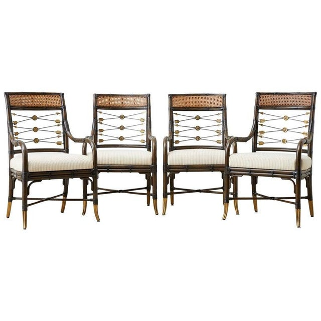 Set of Four Neoclassical Style Rattan Dining Armchairs For Sale - Image 13 of 13