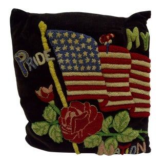 """Vintage """"Pride My Nation"""" American Flag Pillow For Sale"""