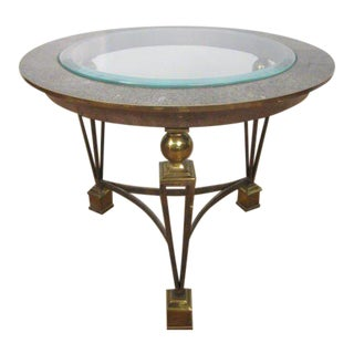 Brass and Tesselated Stone Side Table Manner of Gilbert Poillerat For Sale