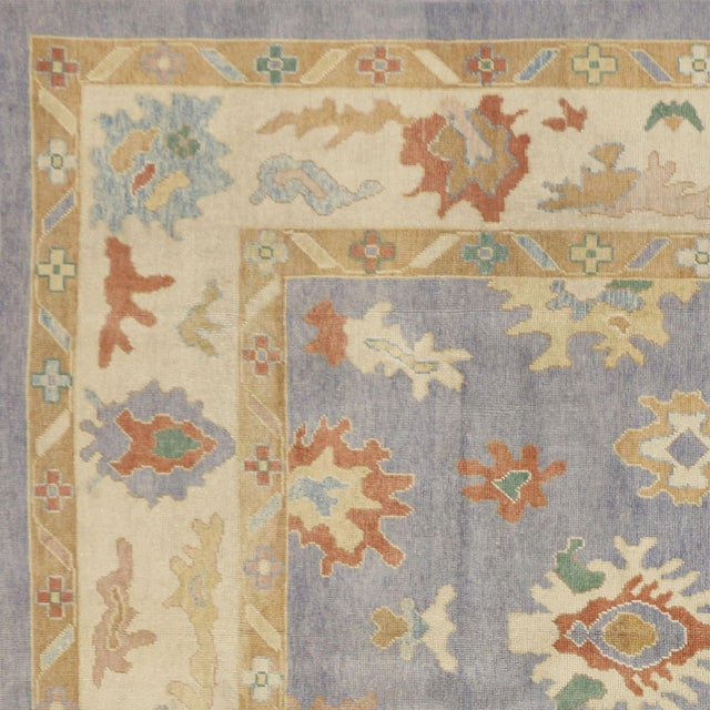 Contemporary Turkish Oushak Rug in Pastel Colors Boho Chic Style, 9'5 x 12'5 For Sale In Dallas - Image 6 of 8