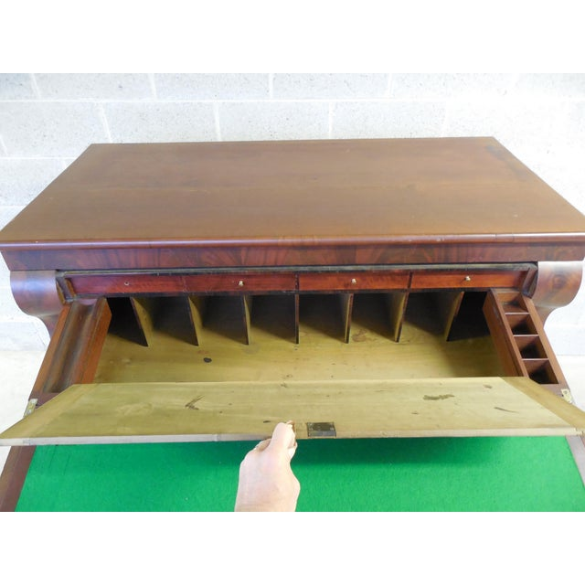 Antique Empire Period Mahogany Butler Chest Desk For Sale - Image 5 of 11