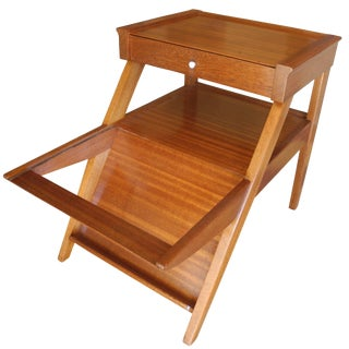 Magazine Side Table With Drawer in Mahogany by John Keal for Brown Saltman, Ca For Sale