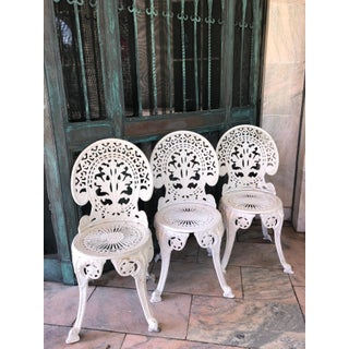Trio of Faceted Metal Fancy French Belle Époque Revival Aluminum Cafe Chairs Preview