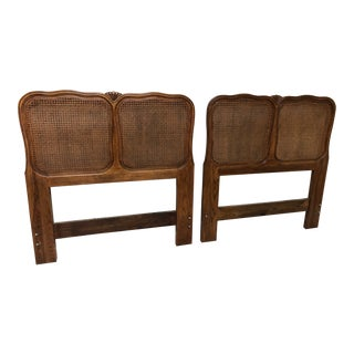 Vintage Cane French Twin Headboards - a Pair For Sale