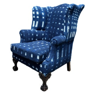 20th Century Georgian Style Indigo Wing-Back Chair For Sale