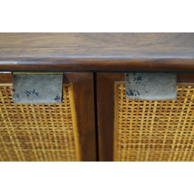 Mid-Century Modern Walnut Cane Door Credenza withDrawers For Sale - Image 9 of 10