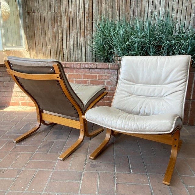 Vintage Westnofa Ingmar Relling Design Leather & Bent Wood Lounge Chairs - a Pair For Sale - Image 10 of 13