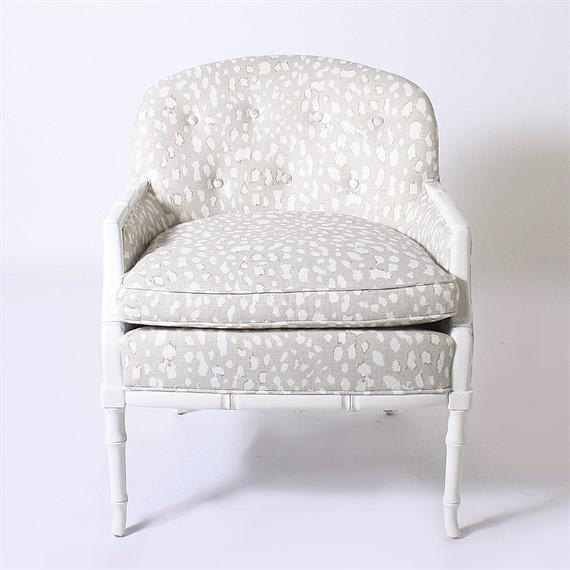 Mid-Century Modern Faux Bamboo Club Chair Upholstered in Jan Showers for Kravet Fabric, C. 1960 For Sale - Image 3 of 6