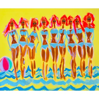 Palm Springs Pool Party Art Painting For Sale