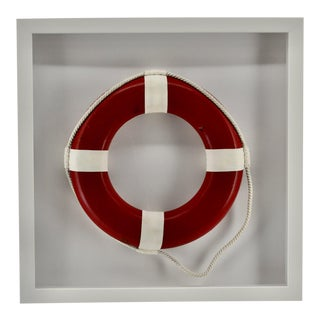 Framed Red Life Ring in White Frame for the Beach For Sale