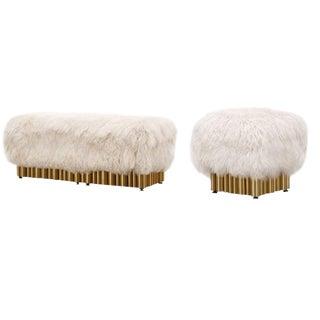 Mongolian Fur Ottoman & Bench Set For Sale
