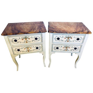Pair of Hand Painted French Provincial End/Side or Night Stand Tables W Faux Top For Sale