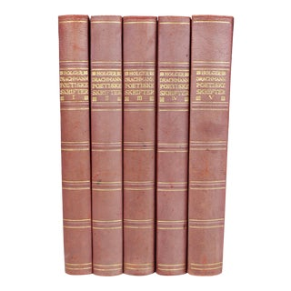 Antique Leather-Bound Books - Set of 5