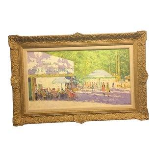 Niek Van Der Plas Cafe De Flore Framed Painting For Sale