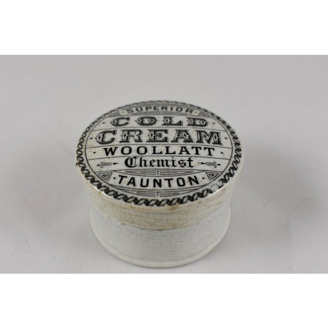 Aesthetic Movement Victorian Staffordshire Transfer Printed Cold Cream Pot For Sale - Image 3 of 6