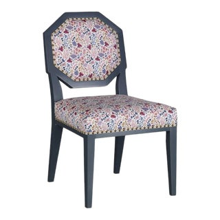 Mary McDonald for Chaddock Chantal Side Chair Floral Blue For Sale
