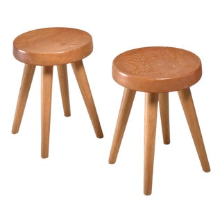 Charlotte Perriand Pair of Four-Legged Stools, France, 1960s For Sale
