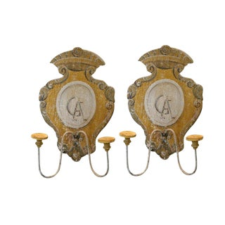 Tuscan Hand Painted 2 Lite Wall Sconces From Siena Italy Featuring a Monogrammed Medallion - Pair For Sale