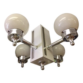 White Laminate & Mirrored Chrome Quad Chandelier For Sale