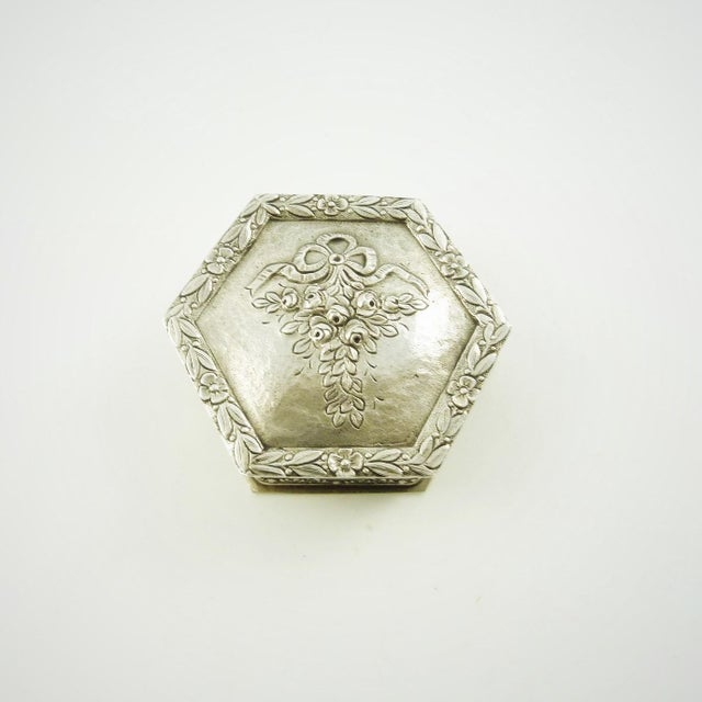 Metal French Sterling Silver Box, Ribbons and Floral Motifs For Sale - Image 7 of 7