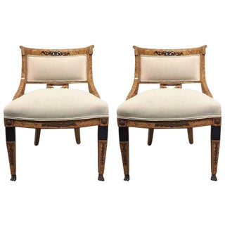 Pair of French Empire Style Side Chairs For Sale