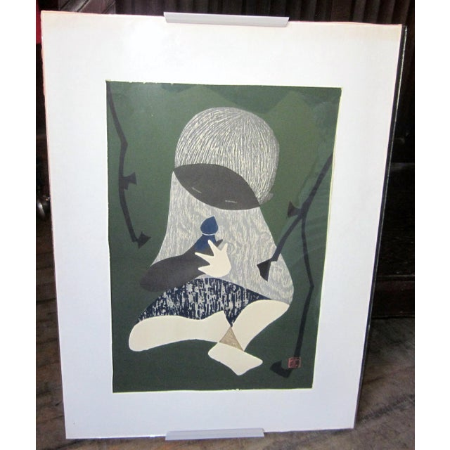 This is a simple and emotive c. early 1950s Japanese woodblock print by respected etcher and printmaker Kaoru Kawano...