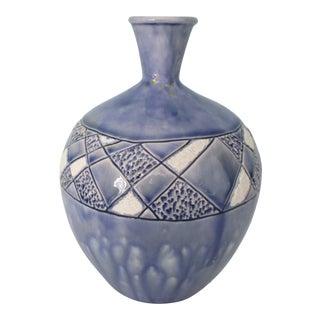 1970s Blue Glazed Bud Vase For Sale
