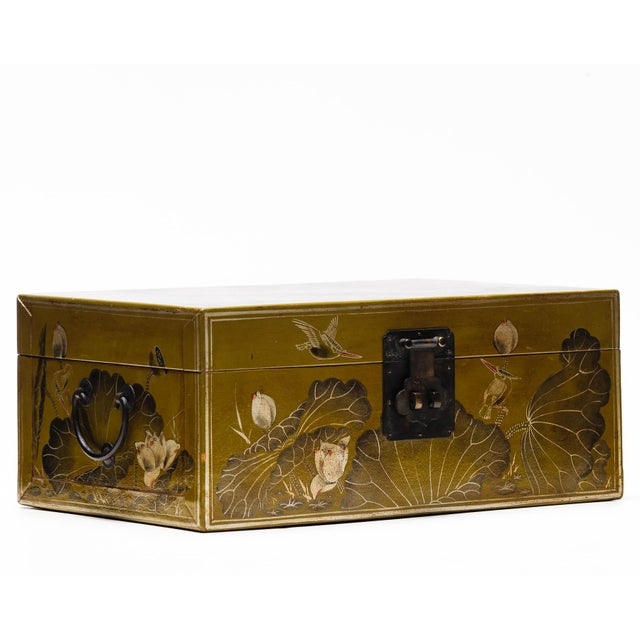 Hand-Painted Lotus Scene Chartreuse Leather Box on Patinated Brass Stand as Side Table by Lawrence & Scott For Sale - Image 12 of 13
