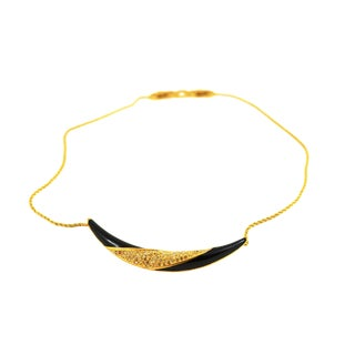 Christian Dior Black Enamel and Gold Boomerang Necklace For Sale