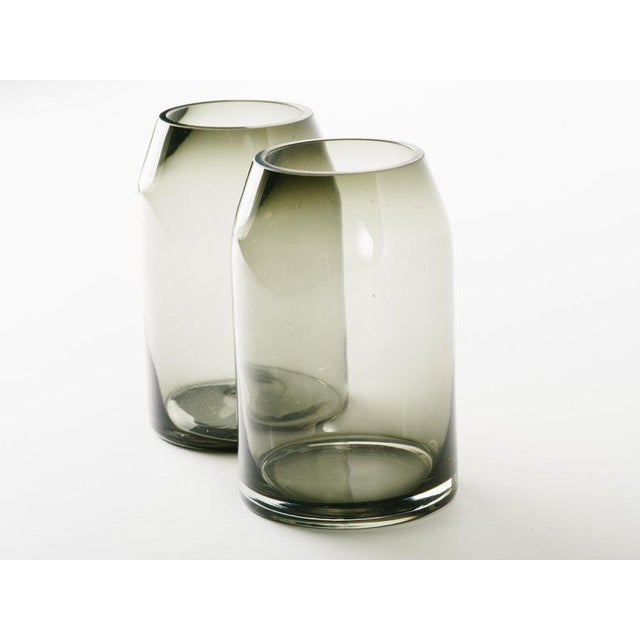 Holmegaard Pair of Danish Modern Smoked Glass Sommerso Vases For Sale - Image 4 of 10