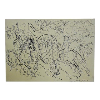 Original Vintage Signed Mid 20th Century Drawing-D. Fredenthal-Listed American Artist For Sale