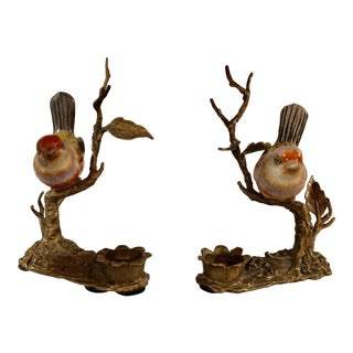"""Porcelain and Brass """"Brass and Burl New York"""" Bird and Branch Handpainted Candlesticks - a Pair For Sale"""
