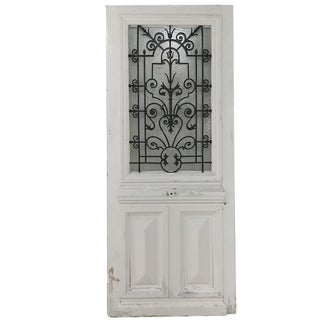 19th Century Exterior Door With Wrought Iron For Sale