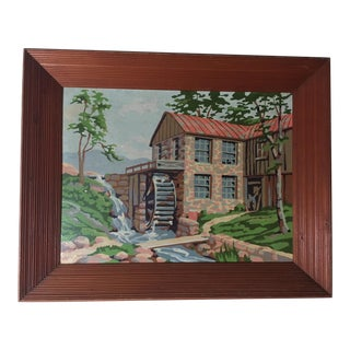 Vintage Brick Mill and Millstream Painting