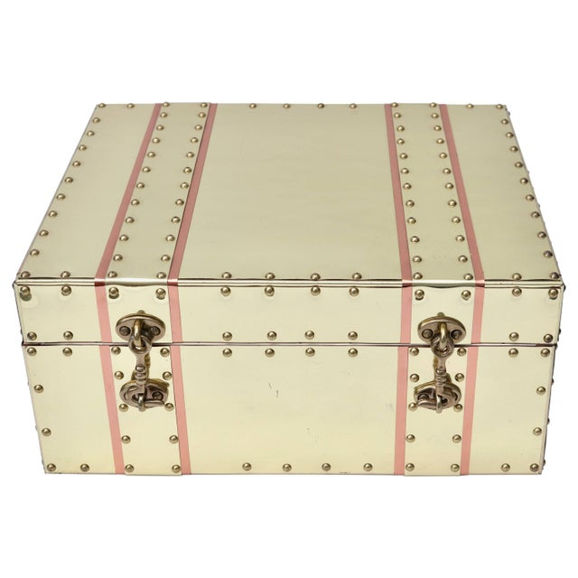 Brass Cream and Pink Brass and Copper Box For Sale - Image 7 of 7