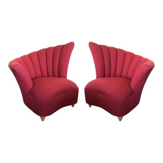 Pair of Hollywood Regency Fan Back Chairs and an Ottoman For Sale