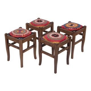 Set of 4 Suzani Covered Bench Handmade Footstool From Anatolian For Sale