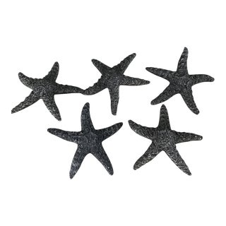 Vintage Large Textured Starfish Silver Metal Drawer Cabinet Pulls - Set of 5 For Sale