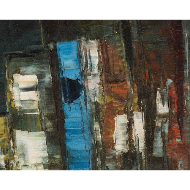 Abstract Expressionism Vintage Abstract Painting of Rowboats in Original Wood Frame For Sale - Image 3 of 7