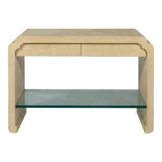 Karl Springer Style Linen Wrapped Console with Glass Shelf For Sale