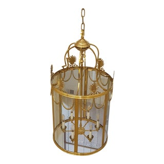 Large Brass and Glass Chandelier For Sale