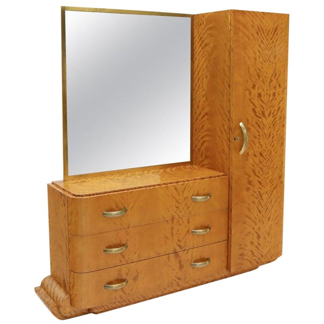French Art Deco Chifforobe Dresser With Mirror Closet Cabinet Tiger Maple For Sale