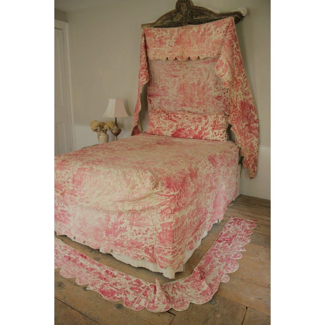 Antique French Victorian Red Pink Quilted Toile Bed Textiles Collection - 6  Piece Set